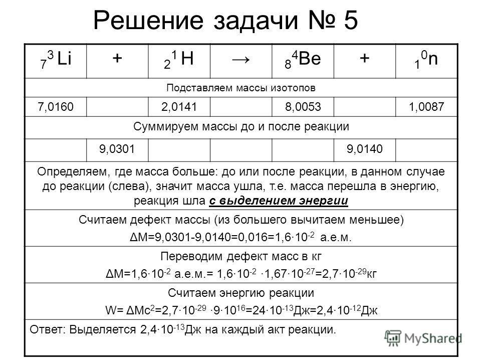 Решение задачи 5 7 3 Li+ 21 H21 H 8 4 Be+ 10n10n Подставляем массы изотопов 7,01602,01418,00531,0087 Суммируем массы до и после реакции 9,03019,0140 Определяем, где масса больше: до или после реакции, в данном случае до реакции (слева), значит масса