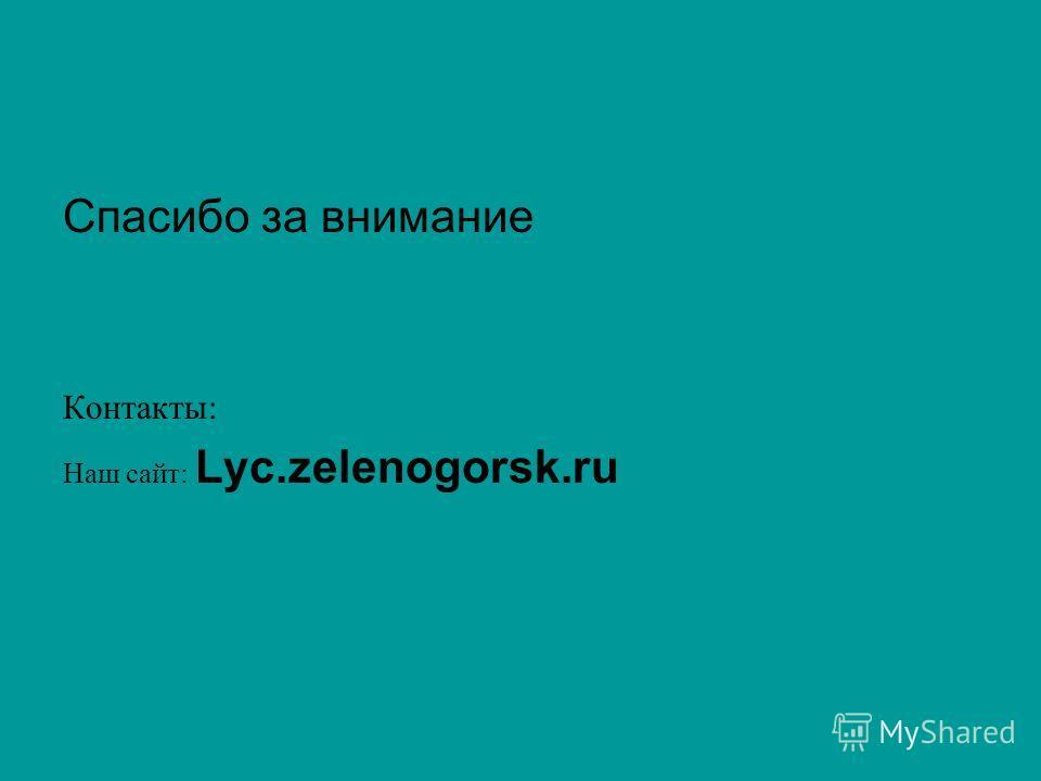 Спасибо за внимание Контакты: Наш сайт: Lyc.zelenogorsk.ru