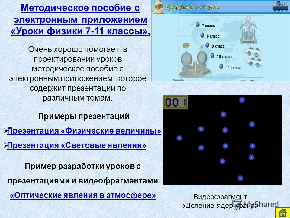 Методическое пособие с электронным приложением «Уроки физики 7-11 классы», Примеры презентаций Презентация «Физические величины» Презентация «Световые явления» Очень хорошо помогает в проектировании уроков методическое пособие с электронным приложени