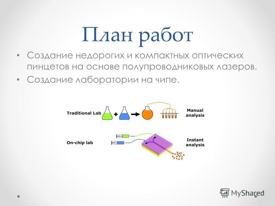 План работ Создание недорогих и компактных оптических пинцетов на основе полупроводниковых лазеров. Создание лаборатории на чипе.