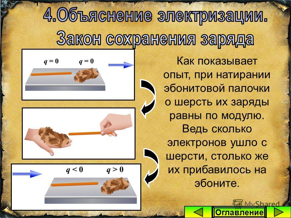 Тогда то тело, которое отдало часть своих электронов, будет заряжено положительно, а то тело, которое их получило – отрицательно. q = +… q = -…