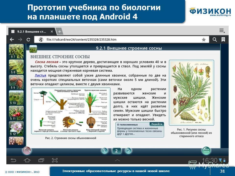 © ООО «ФИЗИКОН», 2013 31 Электронные образовательные ресурсы в нашей новой школе Прототип учебника по биологии на планшете под Android 4