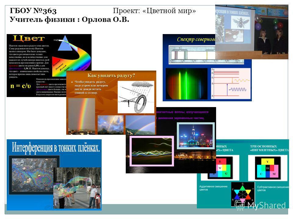 ГБОУ 363 Проект: «Цветной мир» Учитель физики : Орлова О.В.