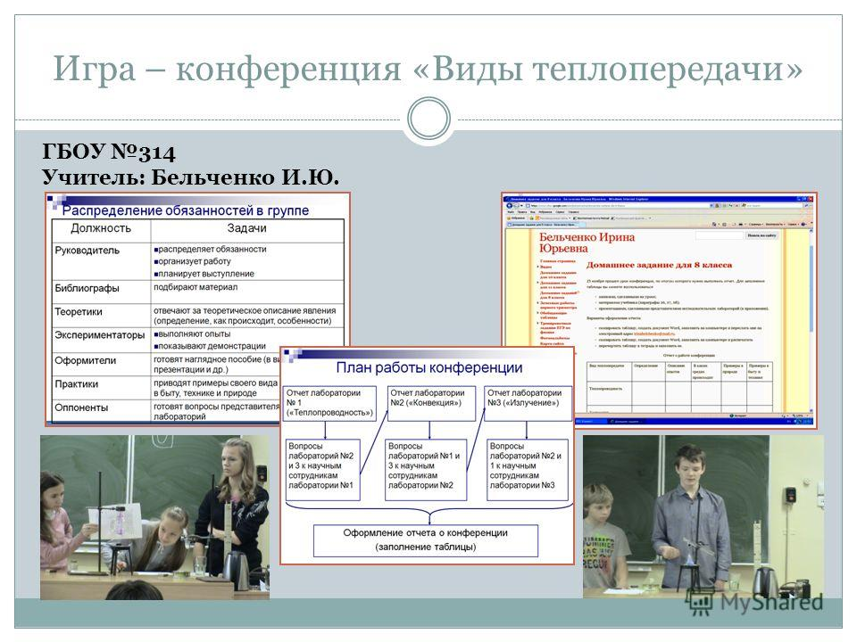 Игра – конференция «Виды теплопередачи» ГБОУ 314 Учитель: Бельченко И.Ю.