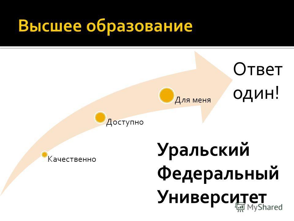 Качественно Доступно Для меня Ответ один! Уральский Федеральный Университет
