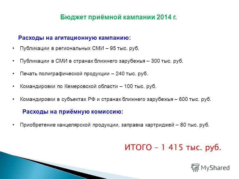 Бюджет приёмной кампании 2014 г. Публикации в региональных СМИ – 95 тыс. руб. Публикации в СМИ в странах ближнего зарубежья – 300 тыс. руб. Печать полиграфической продукции – 240 тыс. руб. Командировки по Кемеровской области – 100 тыс. руб. Командиро
