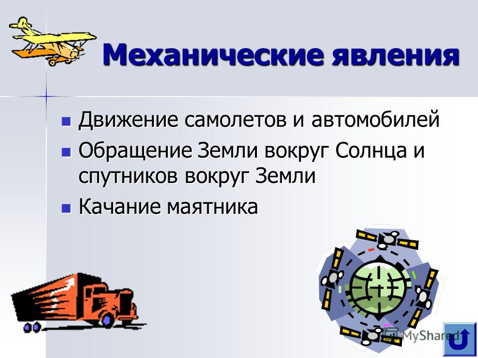 Механические явления Движение самолетов и автомобилей Обращение Земли вокруг Солнца и спутников вокруг Земли Качание маятника