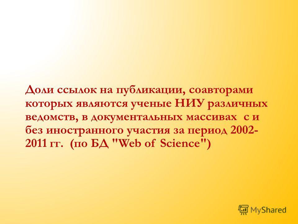 Доли ссылок на публикации, соавторами которых являются ученые НИУ различных ведомств, в документальных массивах с и без иностранного участия за период 2002- 2011 гг. (по БД Web of Science)