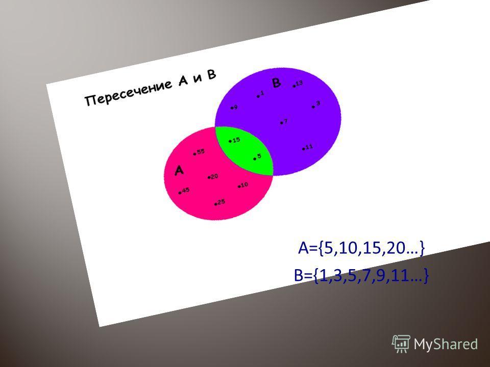 A={5,10,15,20…} B={1,3,5,7,9,11…}