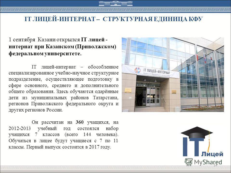 14 1 сентября Казани открылся IT лицей - интернат при Казанском (Приволжском) федеральном университете. IT лицей-интернат – обособленное специализированное учебно-научное структурное подразделение, осуществляющее подготовку в сфере основного, среднег