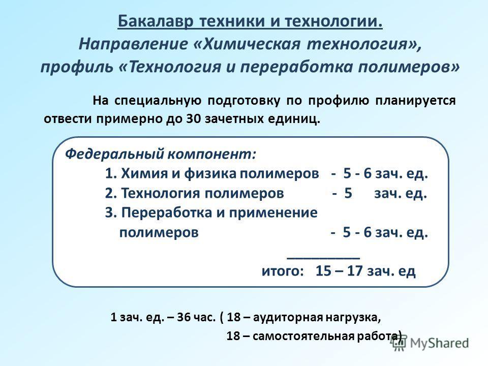 Бакалавр техники и технологии. Направление «Химическая технология», профиль «Технология и переработка полимеров» 1 зач. ед. – 36 час. ( 18 – аудиторная нагрузка, 18 – самостоятельная работа) Федеральный компонент: 1. Химия и физика полимеров - 5 - 6