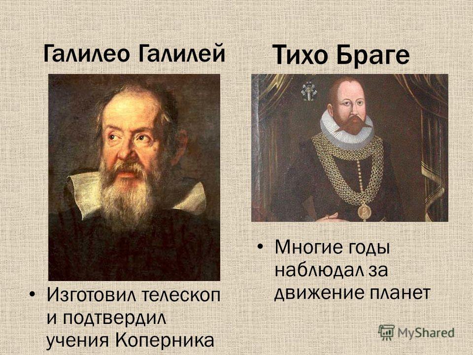 Тихо Браге Изготовил телескоп и подтвердил учения Коперника Галилео Галилей Многие годы наблюдал за движение планет