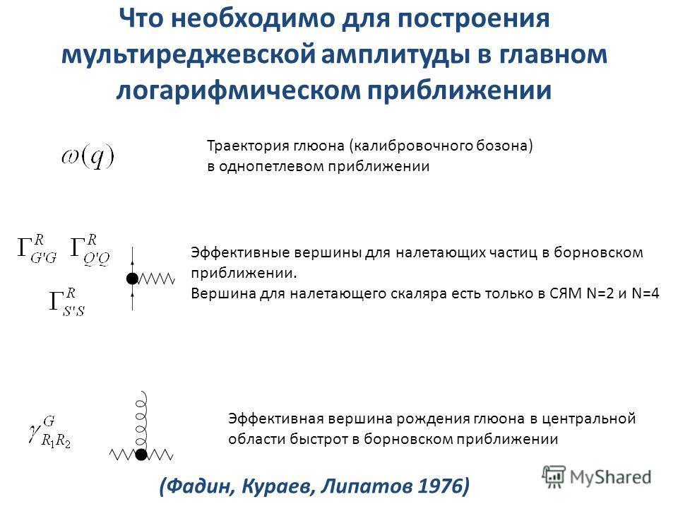 Что необходимо для построения мультиреджевской амплитуды в главном логарифмическом приближении Траектория глюона (калибровочного бозона) в однопетлевом приближении Эффективные вершины для налетающих частиц в борновском приближении. Вершина для налета