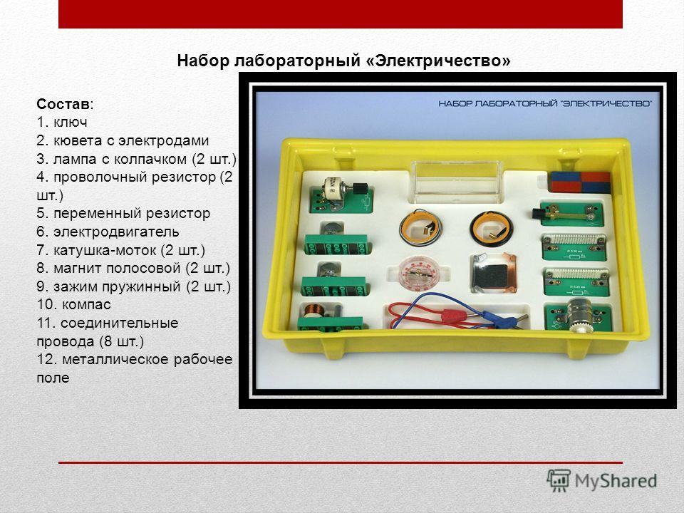 Состав: 1. ключ 2. кювета с электродами 3. лампа с колпачком (2 шт.) 4. проволочный резистор (2 шт.) 5. переменный резистор 6. электродвигатель 7. катушка-моток (2 шт.) 8. магнит полосовой (2 шт.) 9. зажим пружинный (2 шт.) 10. компас 11. соединитель
