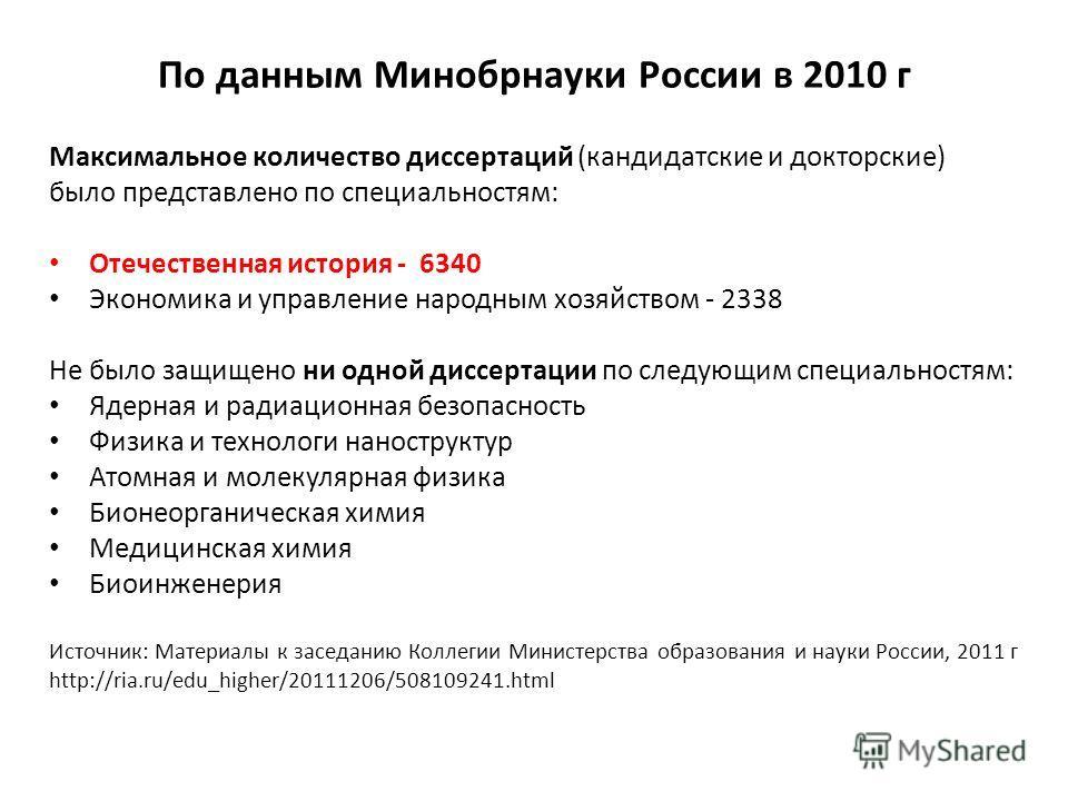 По данным Минобрнауки России в 2010 г Максимальное количество диссертаций (кандидатские и докторские) было представлено по специальностям: Отечественная история - 6340 Экономика и управление народным хозяйством - 2338 Не было защищено ни одной диссер