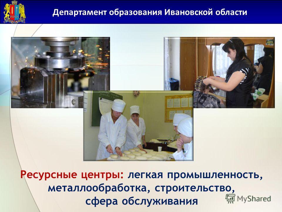 Департамент образования Ивановской области Ресурсные центры: легкая промышленность, металлообработка, строительство, сфера обслуживания