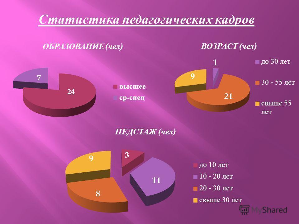 Статистика педагогических кадров ОБРАЗОВАНИЕ ( чел ) ВОЗРАСТ ( чел )