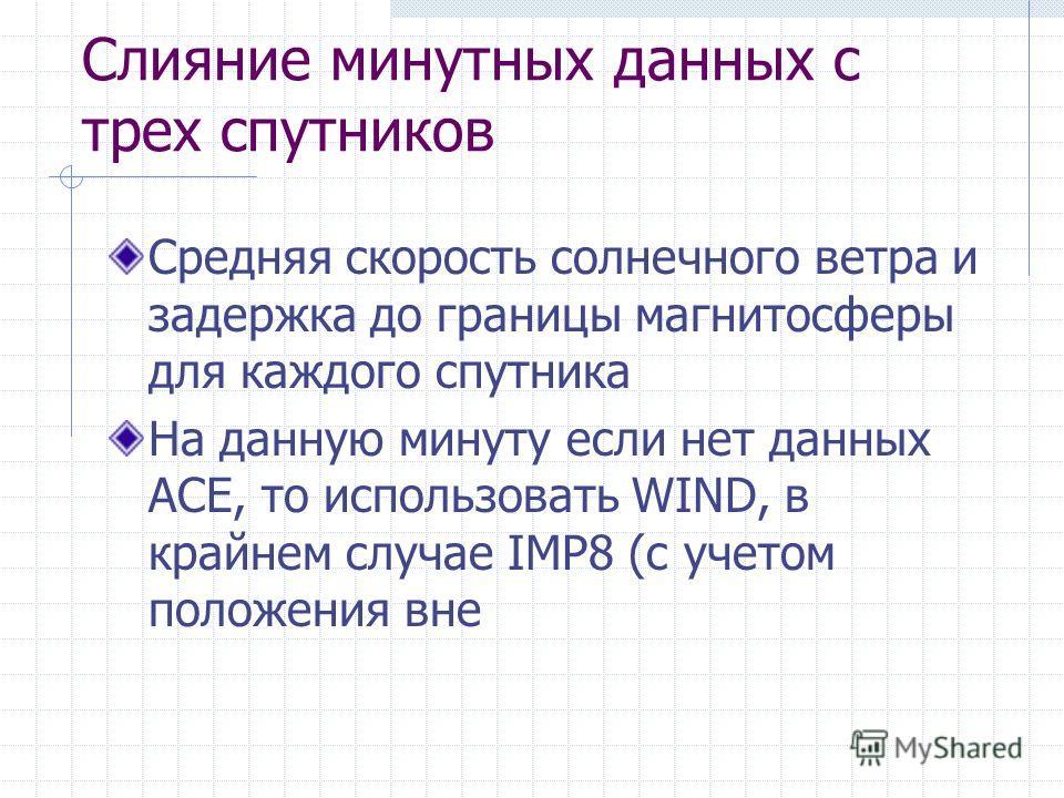 Слияние минутных данных с трех спутников Средняя скорость солнечного ветра и задержка до границы магнитосферы для каждого спутника На данную минуту если нет данных ACE, то использовать WIND, в крайнем случае IMP8 (с учетом положения вне