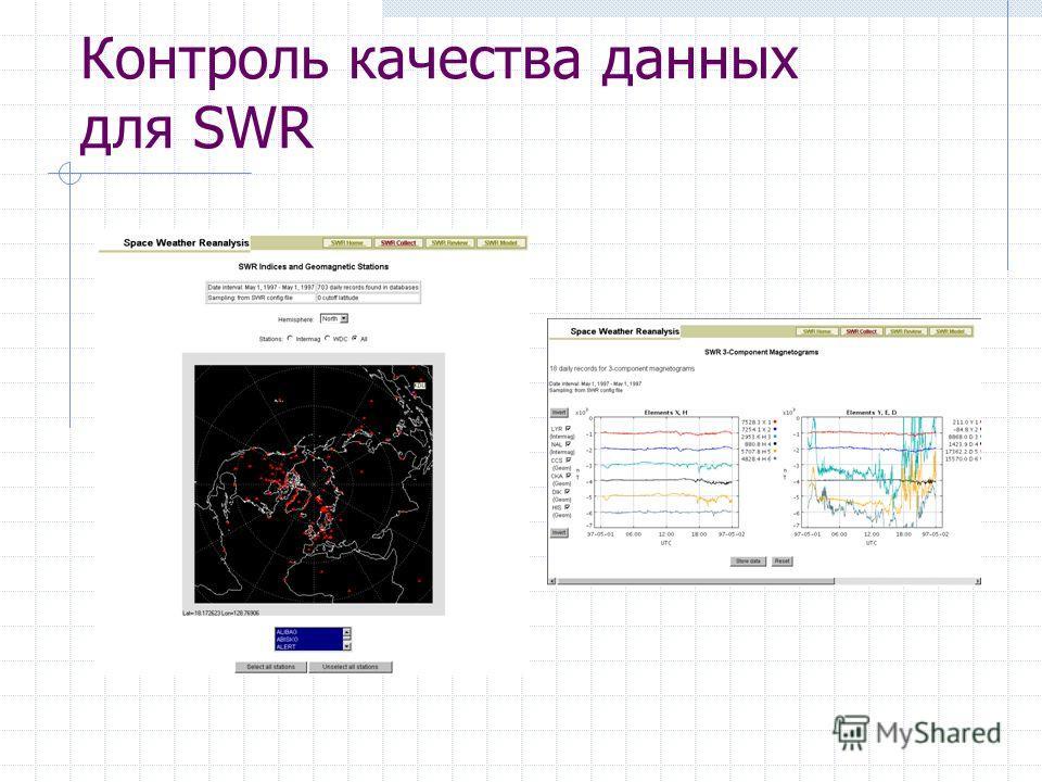 Контроль качества данных для SWR