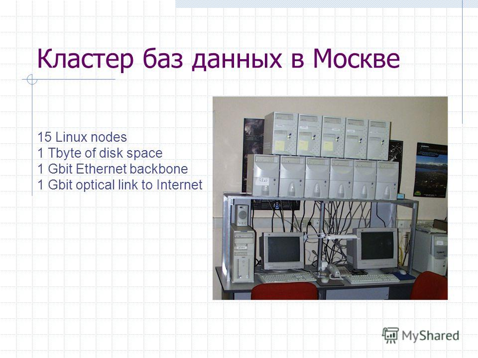 Кластер баз данных в Москве 15 Linux nodes 1 Tbyte of disk space 1 Gbit Ethernet backbone 1 Gbit optical link to Internet
