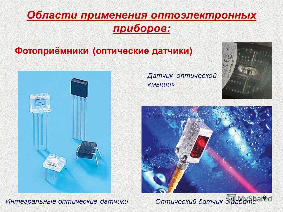 6 Области применения оптоэлектронных приборов: Датчик оптической «мыши» Интегральные оптические датчики Оптический датчик в работе Фотоприёмники (оптические датчики)