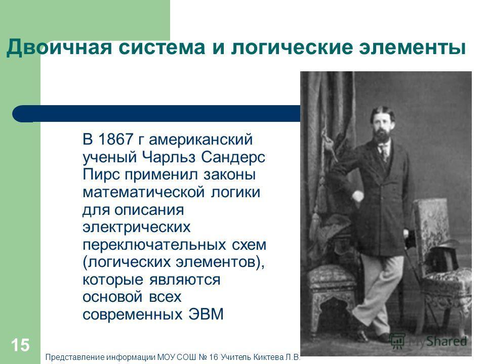 15 Двоичная система и логические элементы В 1867 г американский ученый Чарльз Сандерс Пирс применил законы математической логики для описания электрических переключательных схем (логических элементов), которые являются основой всех современных ЭВМ Пр