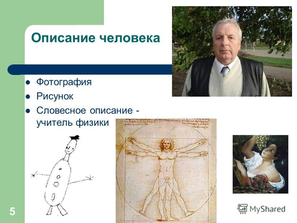 5 Описание человека Фотография Рисунок Словесное описание - учитель физики