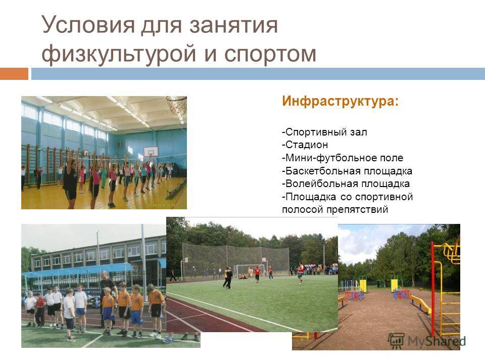 Инфраструктура: -Спортивный зал -Стадион -Мини-футбольное поле -Баскетбольная площадка -Волейбольная площадка -Площадка со спортивной полосой препятствий Условия для занятия физкультурой и спортом