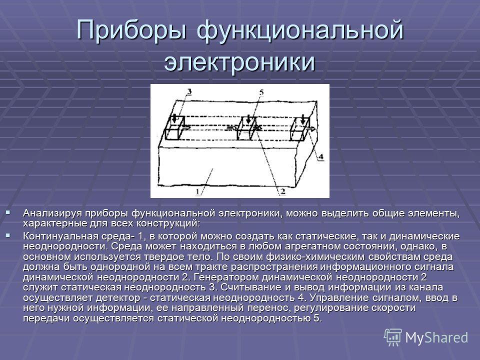 Приборы функциональной электроники Анализируя приборы функциональной электроники, можно выделить общие элементы, характерные для всех конструкций: Анализируя приборы функциональной электроники, можно выделить общие элементы, характерные для всех конс