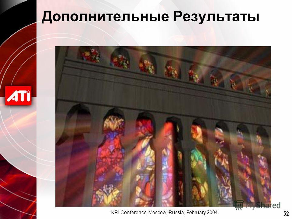 52 KRI Conference, Moscow, Russia, February 2004 Дополнительные Результаты