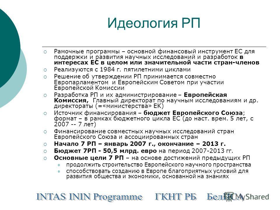 Идеология РП Рамочные программы – основной финансовый инструмент ЕС для поддержки и развития научных исследований и разработок в интересах ЕС в целом или значительной части стран-членов Реализуются с 1984 г. пятилетними циклами Решение об утверждении