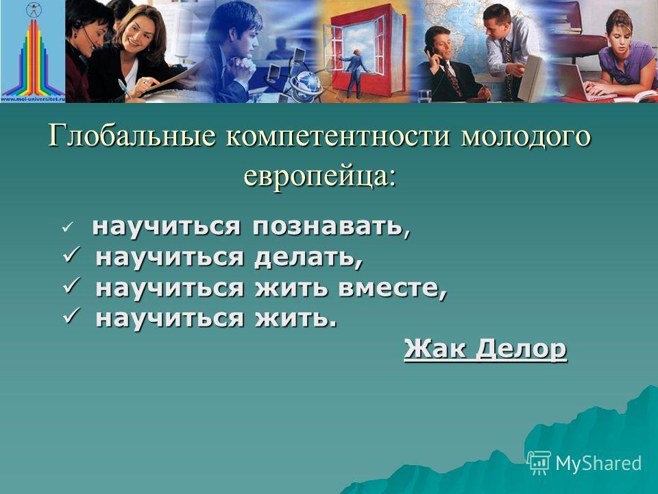 Глобальные компетентности молодого европейца: научиться познавать, научиться делать, научиться делать, научиться жить вместе, научиться жить вместе, научиться жить. научиться жить. Жак Делор Жак Делор