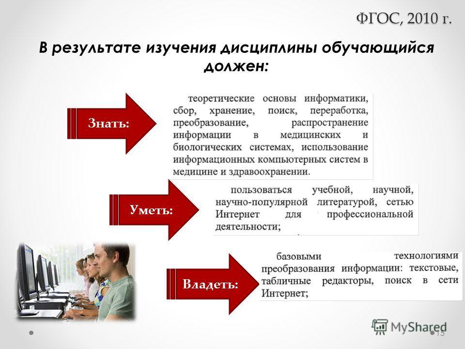Знать: Уметь: Владеть: ФГОС, 2010 г. В результате изучения дисциплины обучающийся должен: 15