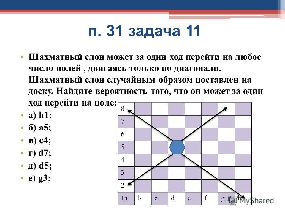 п. 31 задача 11 Шахматный слон может за один ход перейти на любое число полей, двигаясь только по диагонали. Шахматный слон случайным образом поставлен на доску. Найдите вероятность того, что он может за один ход перейти на поле: а) h1; б) a5; в) c4;