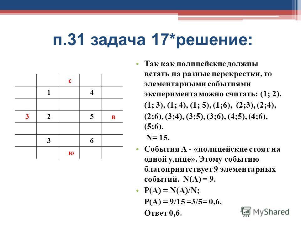 п.31 задача 17*решение: с 14 325в 36 ю Так как полицейские должны встать на разные перекрестки, то элементарными событиями эксперимента можно считать: (1; 2), (1; 3), (1; 4), (1; 5), (1;6), (2;3), (2;4), (2;6), (3;4), (3;5), (3;6), (4;5), (4;6), (5;6