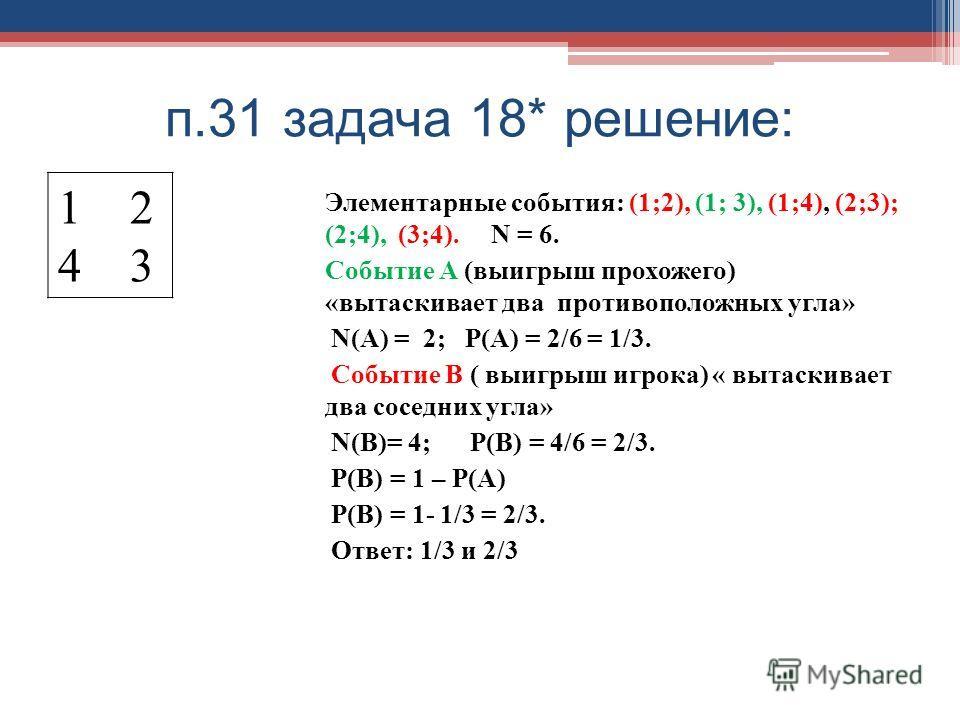 п.31 задача 18* решение: 1 2 4 3 Элементарные события: (1;2), (1; 3), (1;4), (2;3); (2;4), (3;4). N = 6. Событие А (выигрыш прохожего) «вытаскивает два противоположных угла» N(A) = 2; Р(А) = 2/6 = 1/3. Событие В ( выигрыш игрока) « вытаскивает два со