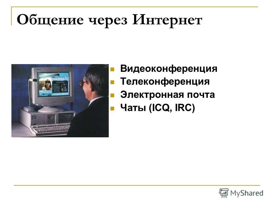 Общение через Интернет Видеоконференция Телеконференция Электронная почта Чаты (ICQ, IRC)
