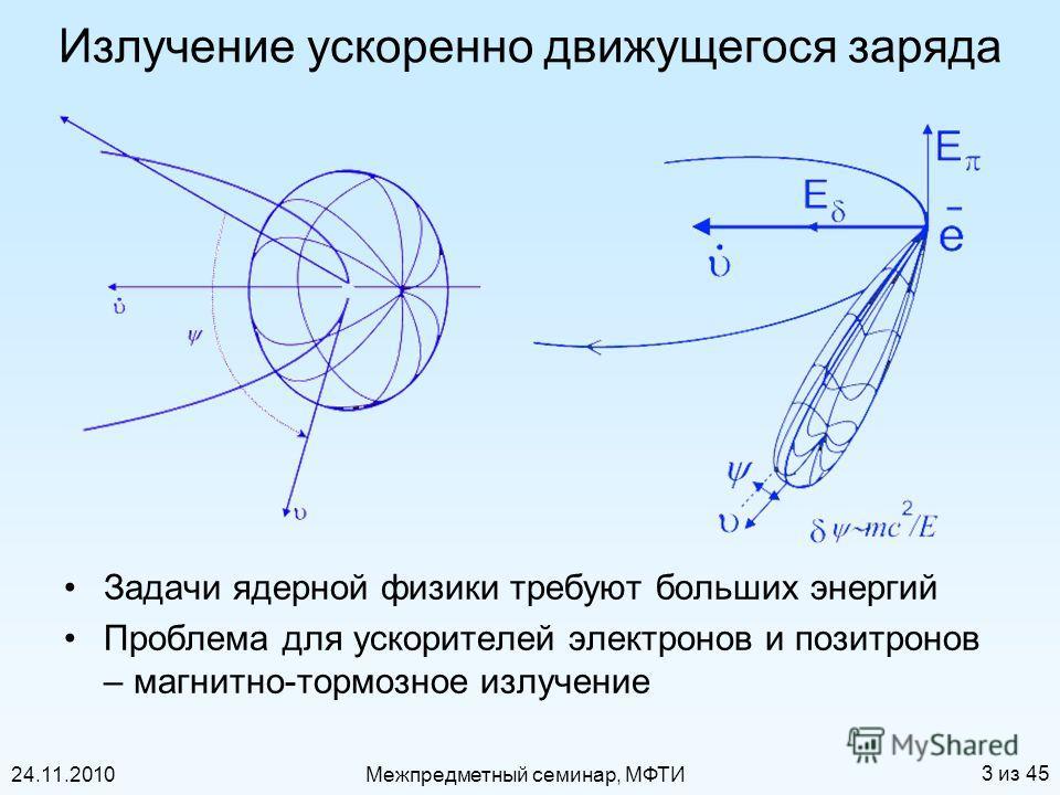 24.11.2010Межпредметный семинар, МФТИ 3 из 45 Излучение ускоренно движущегося заряда Задачи ядерной физики требуют больших энергий Проблема для ускорителей электронов и позитронов – магнитно-тормозное излучение