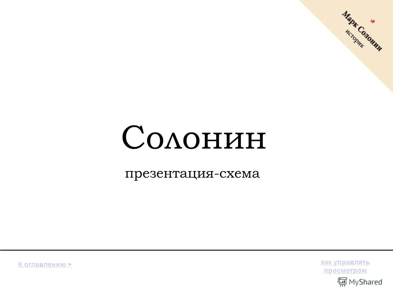 Солонин презентация-схема К оглавлению как управлять просмотром