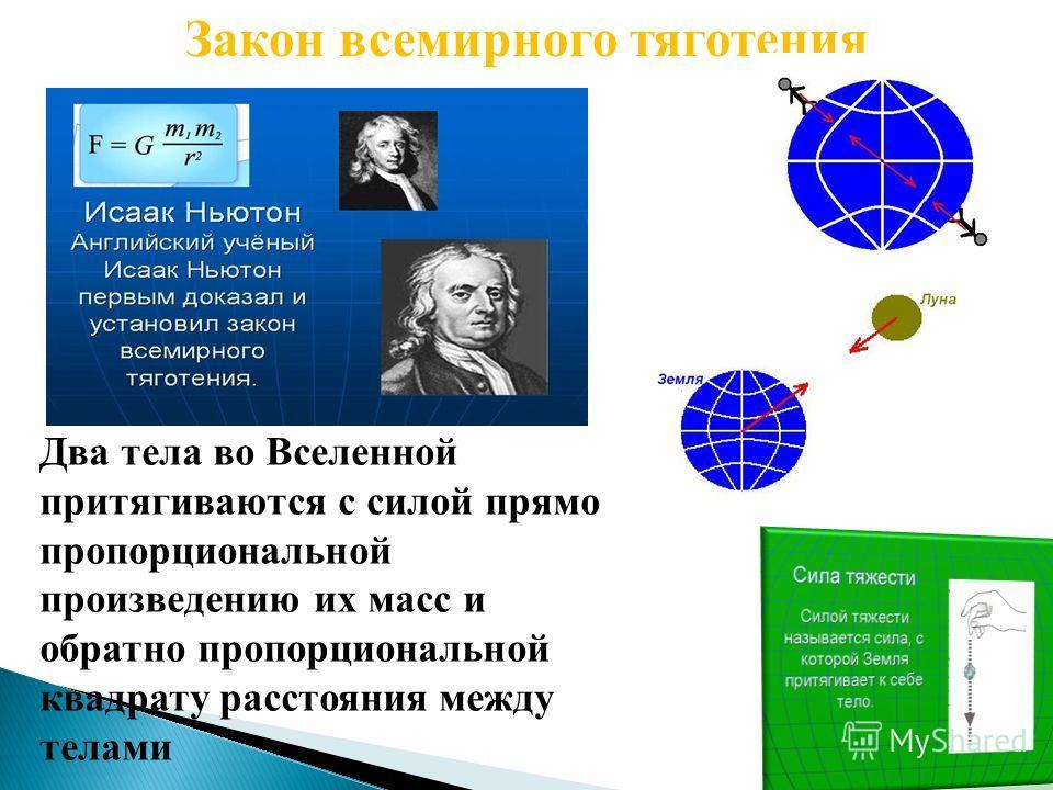 Закон всемирного тяготения Два тела во Вселенной притягиваются с силой прямо пропорциональной произведению их масс и обратно пропорциональной квадрату расстояния между телами