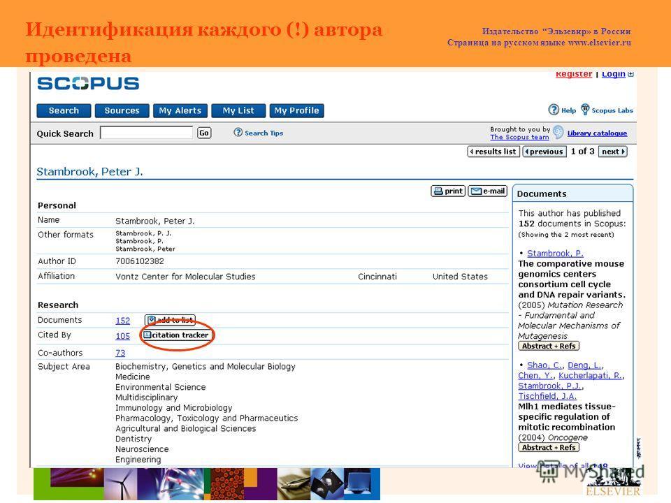 Издательство Эльзевир» в России Страница на русском языке www.elsevier.ru Идентификация каждого (!) автора проведена