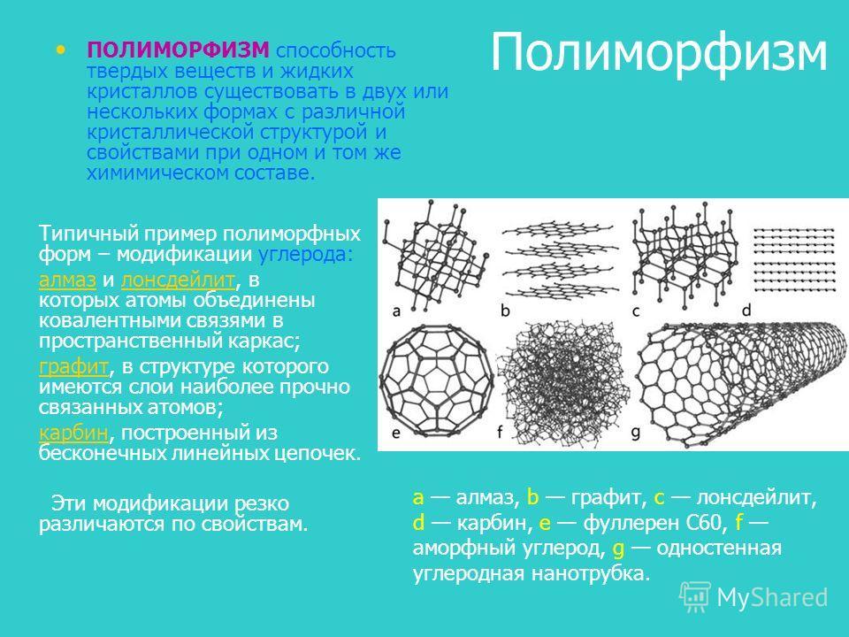 Полиморфизм ПОЛИМОРФИЗМ способность твердых веществ и жидких кристаллов существовать в двух или нескольких формах с различной кристаллической структурой и свойствами при одном и том же химимическом составе. a алмаз, b графит, c лонсдейлит, d карбин,
