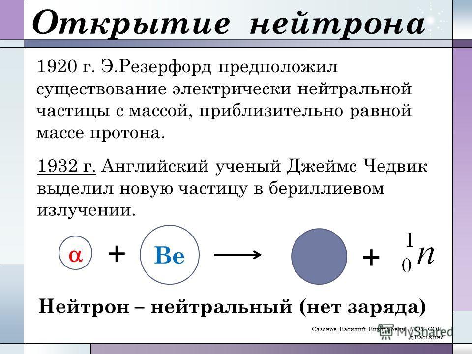 Открытие нейтрона 1920 г. Э.Резерфорд предположил существование электрически нейтральной частицы с массой, приблизительно равной массе протона. 1932 г. Английский ученый Джеймс Чедвик выделил новую частицу в бериллиевом излучении. + Ве + Нейтрон – не