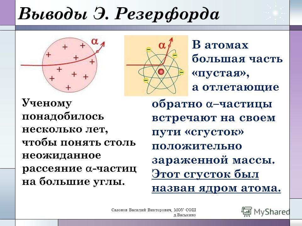Выводы Э. Резерфорда Ученому понадобилось несколько лет, чтобы понять столь неожиданное рассеяние -частиц на большие углы. В атомах большая часть «пустая», а отлетающие обратно –частицы встречают на своем пути «сгусток» положительно зараженной массы.