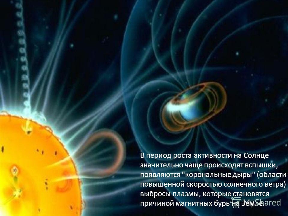 В период роста активности на Солнце значительно чаще происходят вспышки, появляются корональные дыры (области с повышенной скоростью солнечного ветра) и выбросы плазмы, которые становятся причиной магнитных бурь на Земле.