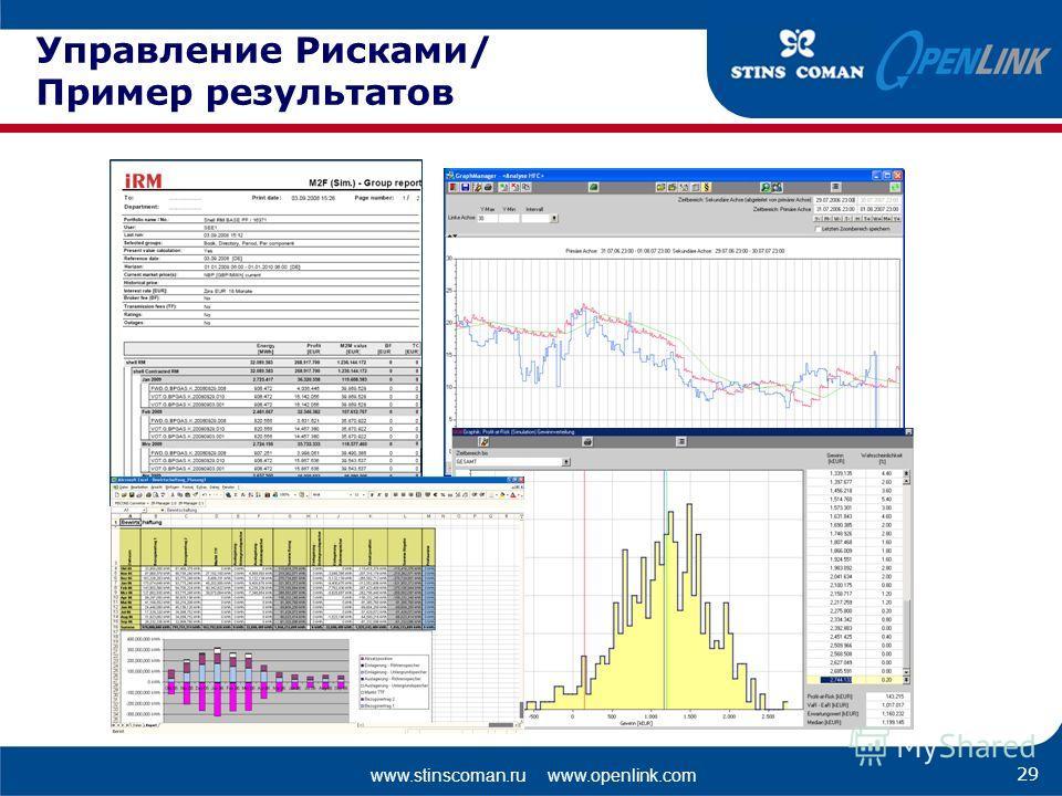 www.stinscoman.ru www.openlink.com Управление Рисками/ Пример результатов 29