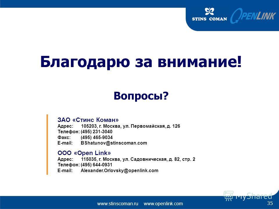 www.stinscoman.ru www.openlink.com 35 Благодарю за внимание! Вопросы? ЗАО «Стинс Коман» Адрес: 105203, г. Москва, ул. Первомайская, д. 126 Телефон: (495) 231-3040 Факс: (495) 465-9034 E-mail: BShatunov@stinscoman.com OOО «Open Link» Адрес: 115035, г.