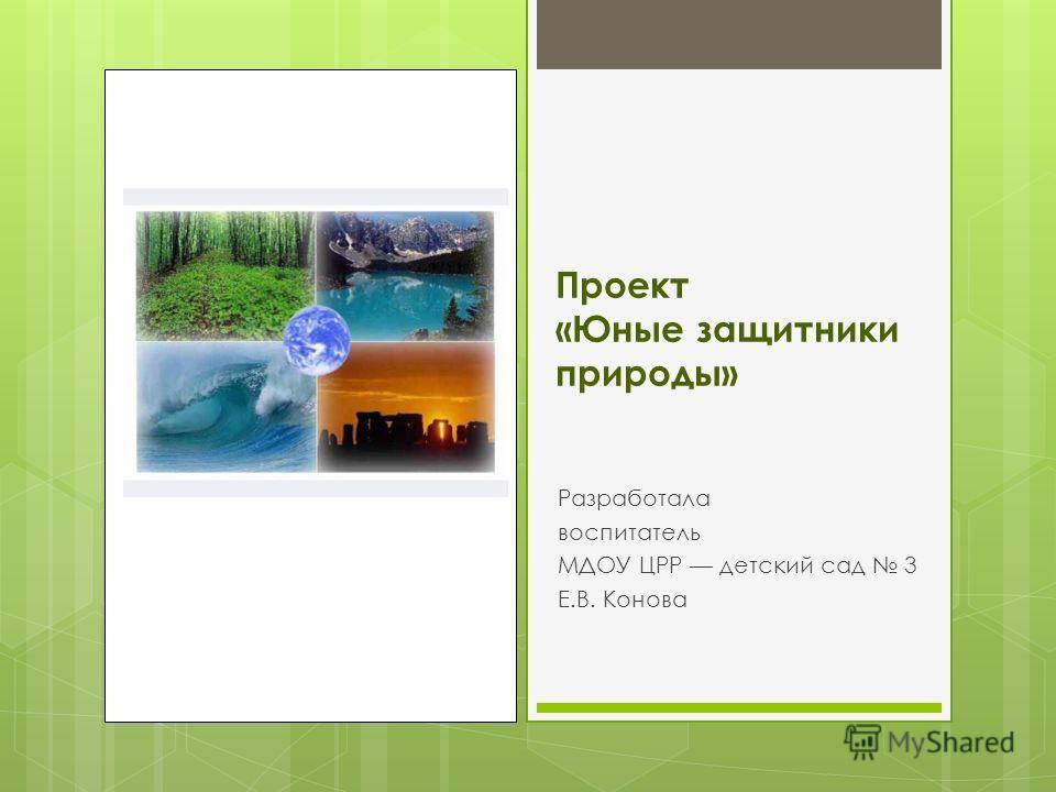 Проект «Юные защитники природы» Разработала воспитатель МДОУ ЦРР детский сад 3 Е.В. Конова