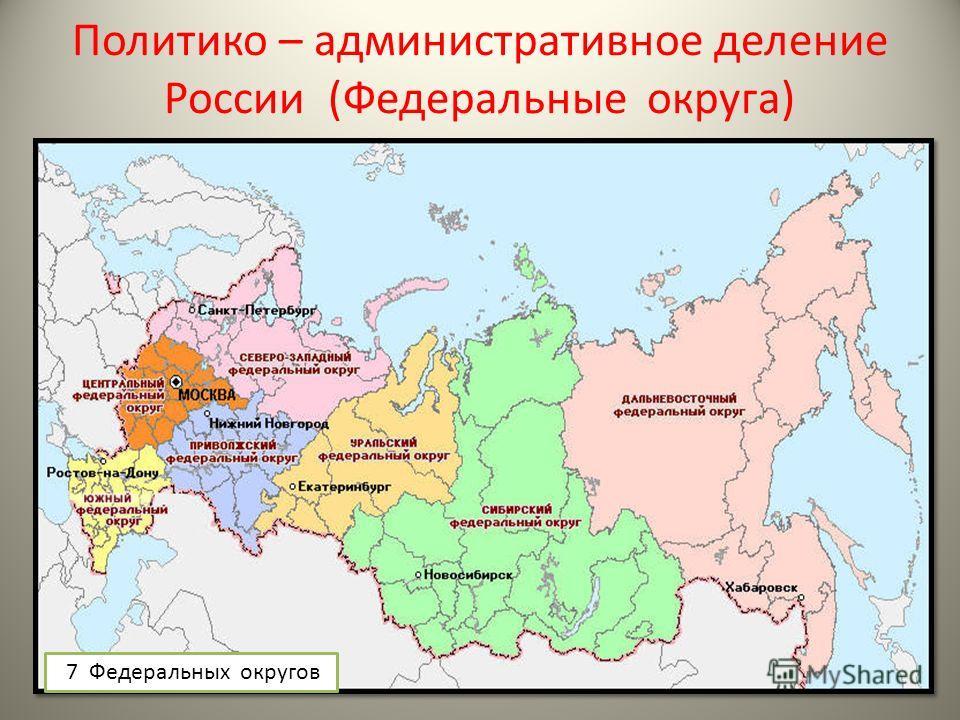Политико – административное деление России (Федеральные округа) 7 Федеральных округов