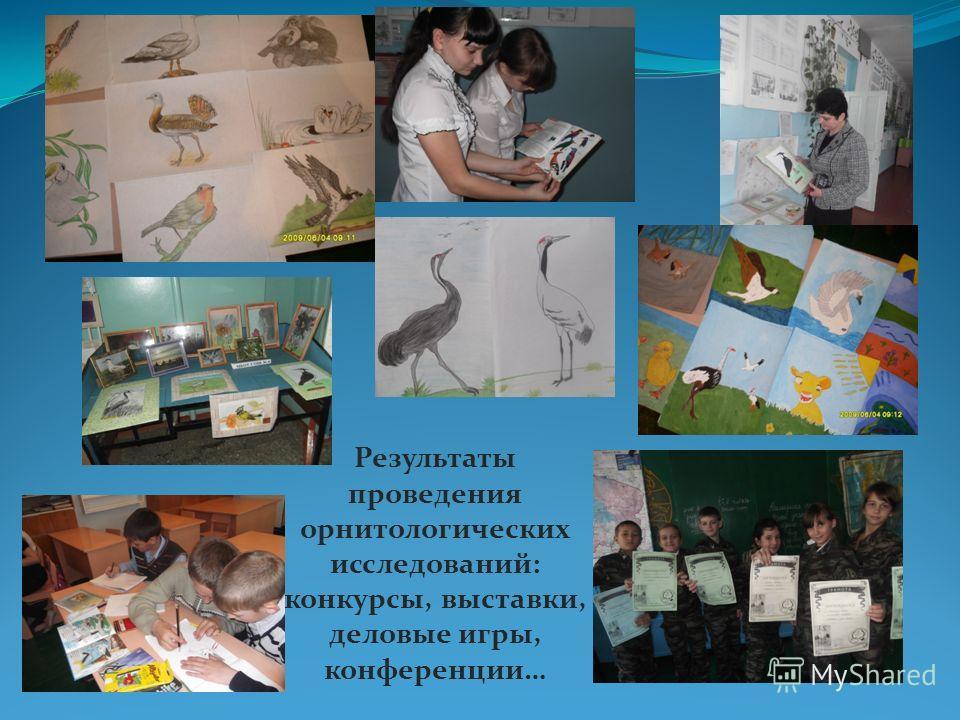 Результаты проведения орнитологических исследований: конкурсы, выставки, деловые игры, конференции…